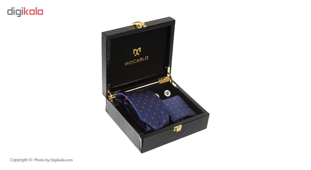 ست کراوات و دستمال جیب و دکمه سردست مردانه موکارلو کد 1007
