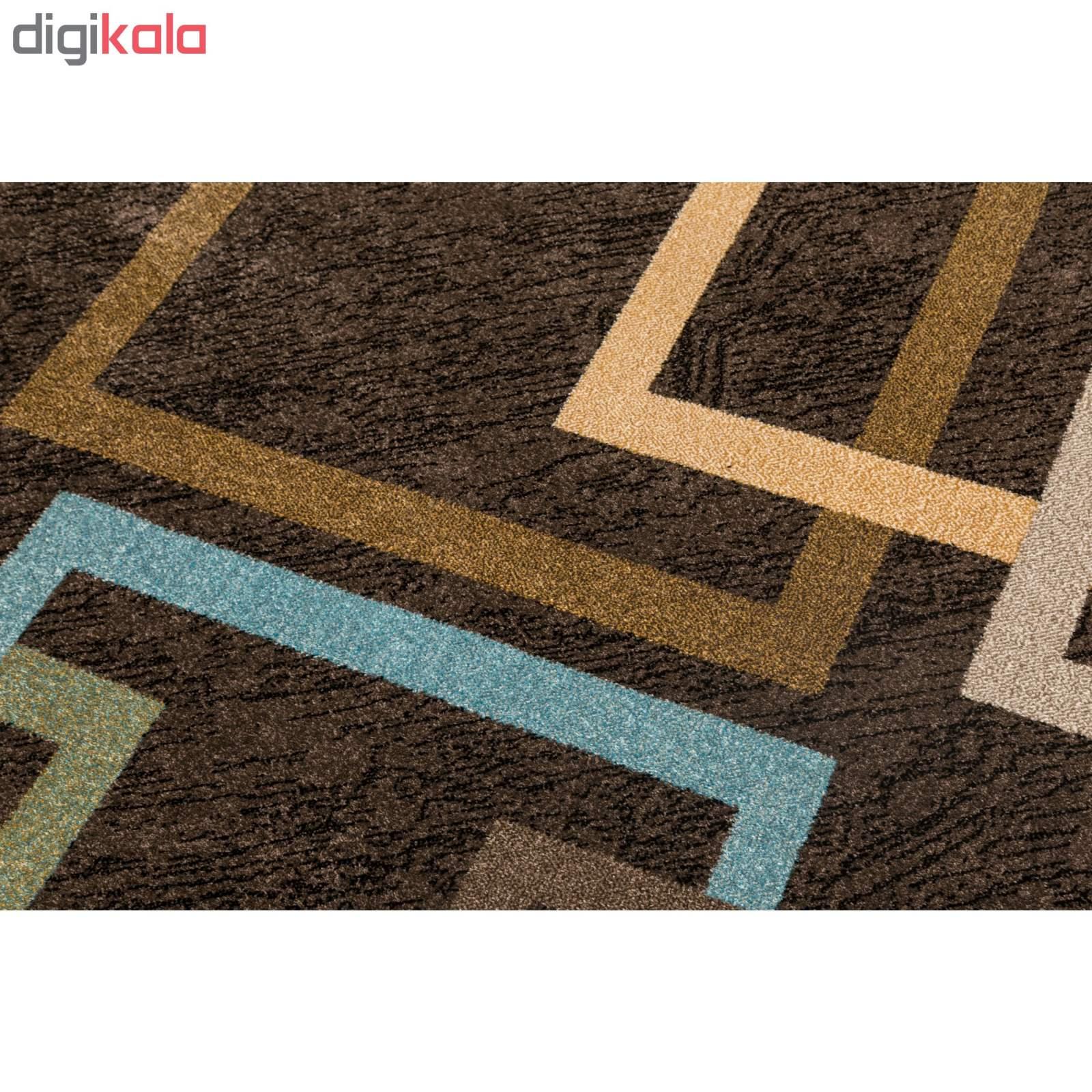 فرش ماشینی ساوین طرح ۴۰۰۳ زمینه نسکافه ای