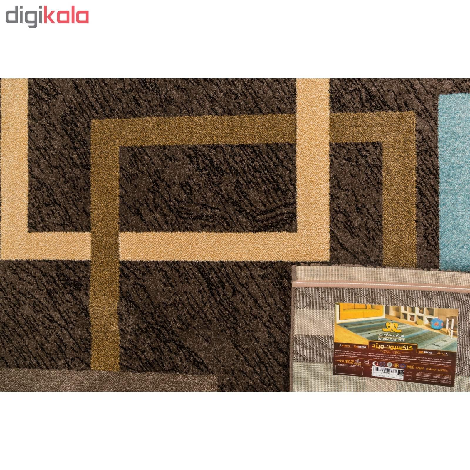 فرش ماشینی ساوین طرح ۴۰۰۳ زمینه نسکافه ای thumb 3