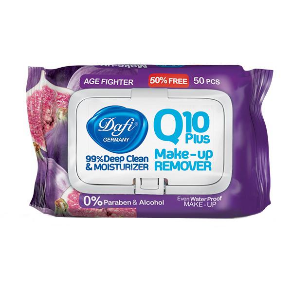 خرید                     دستمال پاک کننده آرایش دافی مدل AGE FIGHTERING Q10 PLUS بسته 50 عددی