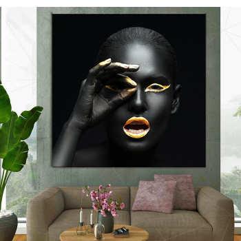 تابلو بوم فلوریزا طرح دختر سیاه و طلایی کد 002