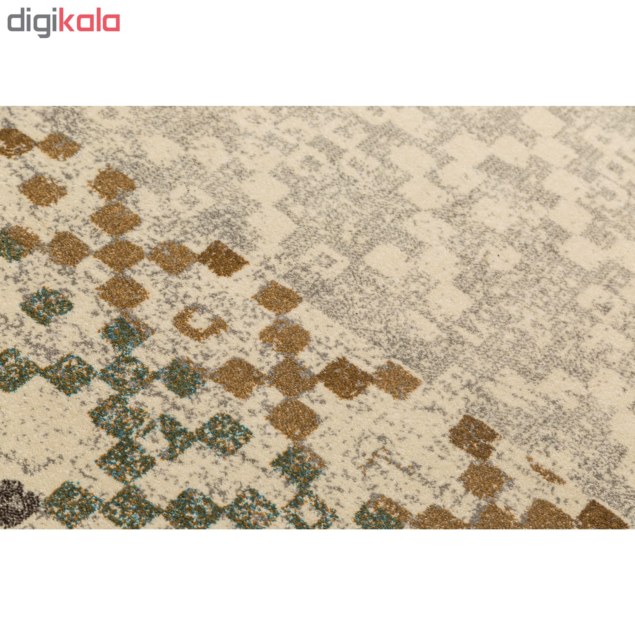 فرش ماشینی فرش ساوین طرح ۴۰۰۵ زمینه کرم