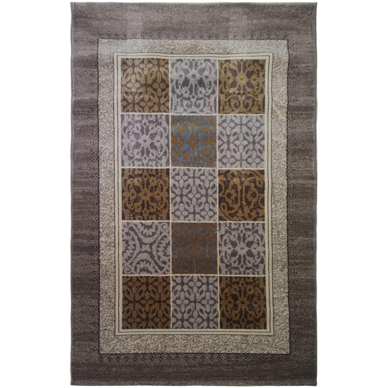 فرش ماشینی فرش ساوین طرح آنتیک زمینه شکلاتی