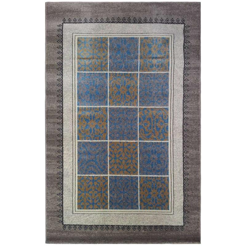 فرش ماشینی فرش ساوین طرح آنتیک زمینه آبی