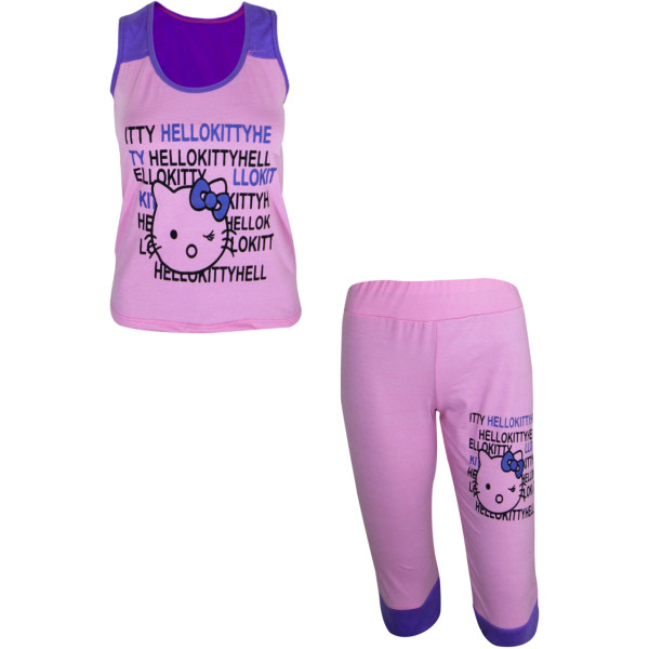 ست تاپ و شلوارک مدل Kitty-H رنگ صورتی بنفش              👗