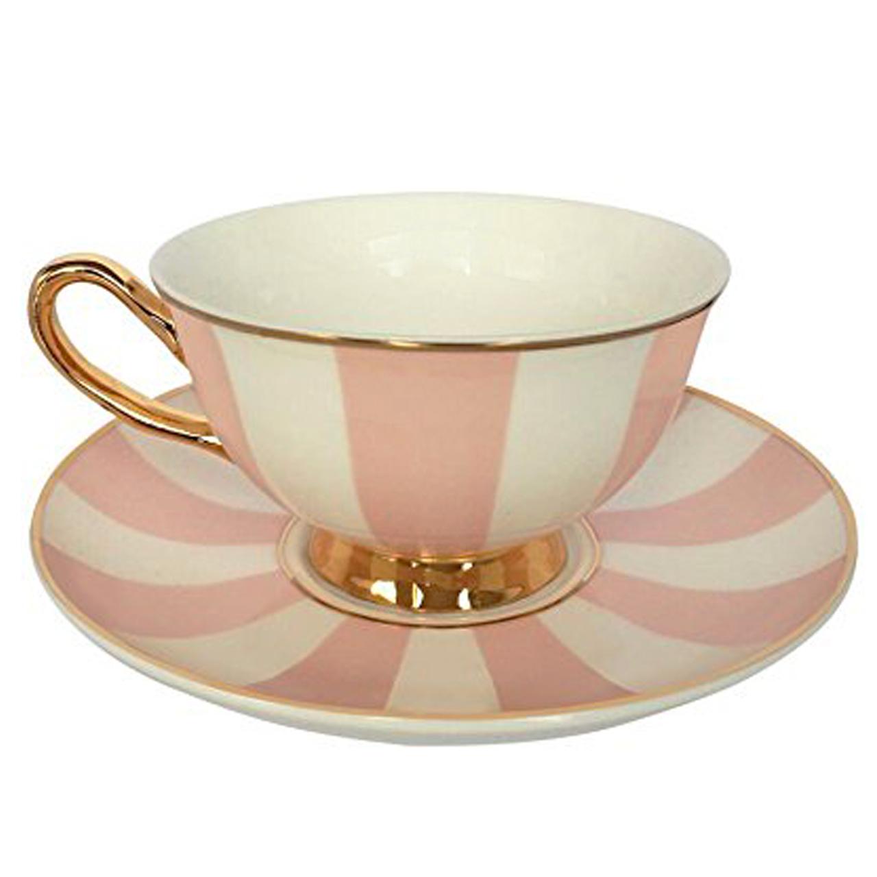 عکس فنجان و نعلبکی بامبی داک مدل Stripy Pink White and Gold