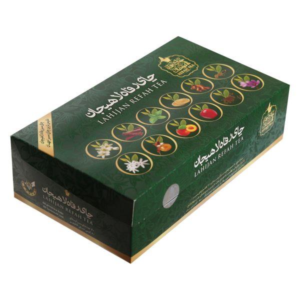 بسته چای سبز کیسه ای رفاه لاهیجان مدل 12 طعم 60 عددی