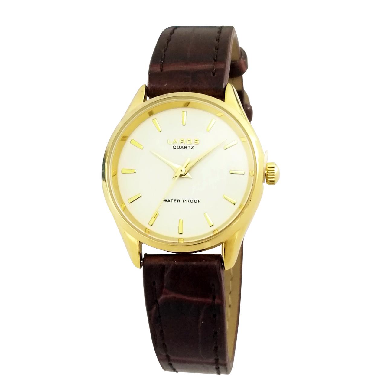 ساعت مچی عقربه ای زنانه لاروس مدل 0118-80200-s به همراه دستمال مخصوص برند کلین واچ 8