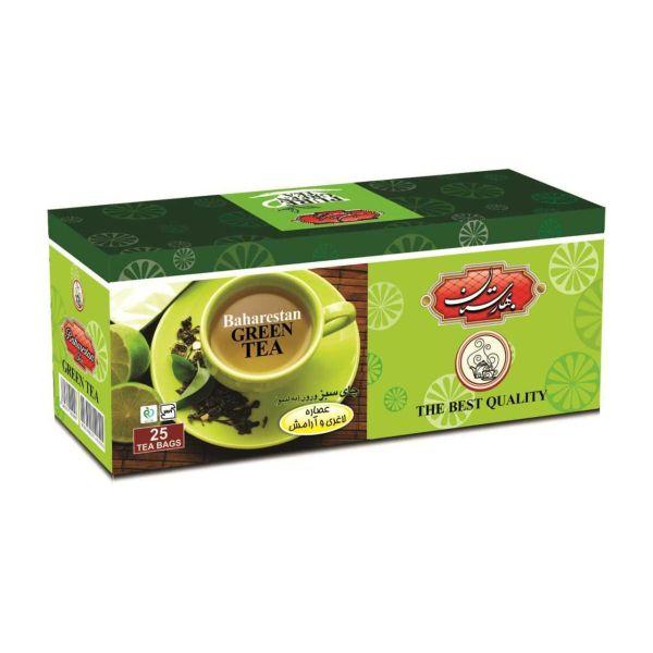 چای سبز کیسه ای بهارستان مدل ورون بسته 25 عددی