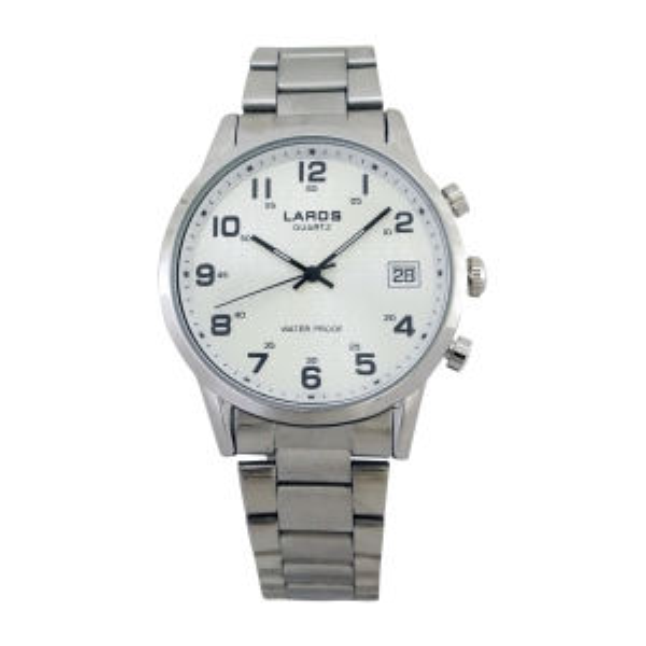ساعت مچی عقربه ای مردانه لاروس مدل 0917-80095-d به همراه دستمال مخصوص برند کلین واچ