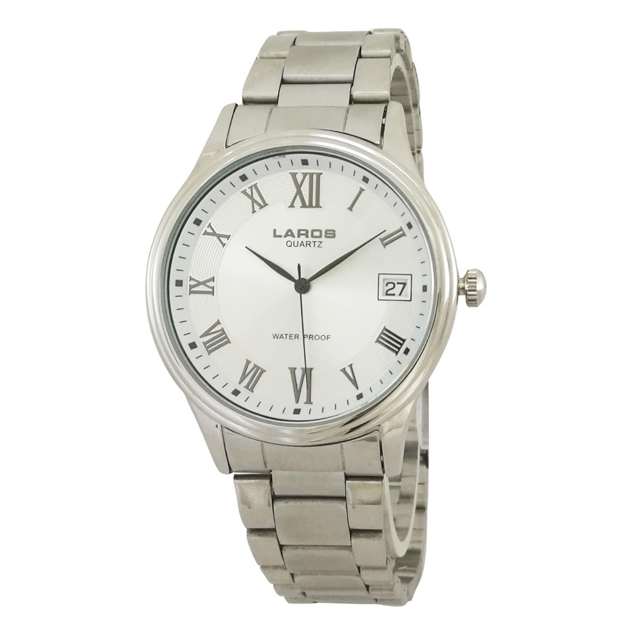 ساعت مچی عقربه ای مردانه لاروس مدل 0817-80071-d به همراه دستمال مخصوص برند کلین واچ 18