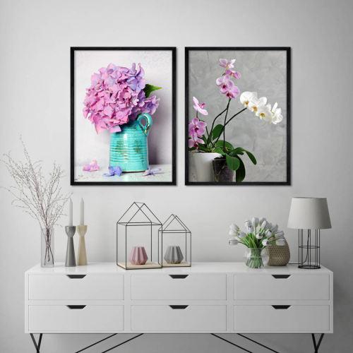 تابلو طرح گل و گلدان کد AX14201 مجموعه 2 عددی
