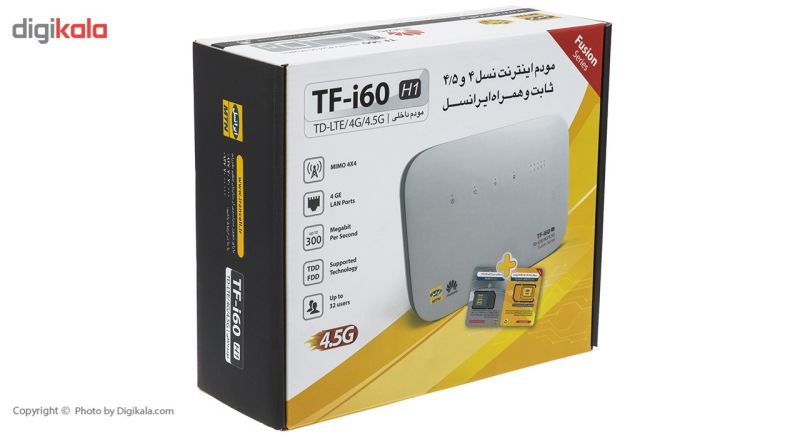 مودم 4G/TD-LTE ایرانسل مدل TF-i60 H1 همراه با سیم کارت دو قلو ایرانسل TD-LTE 4G main 1 3