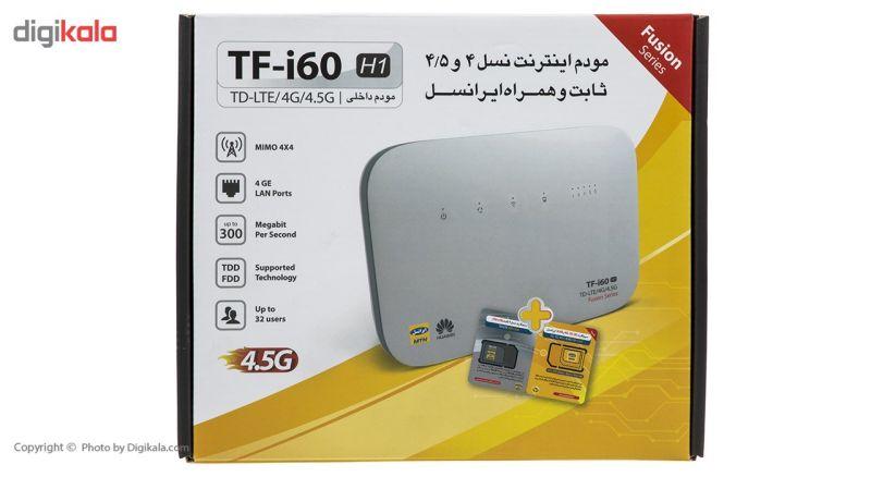 مودم 4G/TD-LTE ایرانسل مدل TF-i60 H1 همراه با سیم کارت دو قلو ایرانسل TD-LTE 4G main 1 4