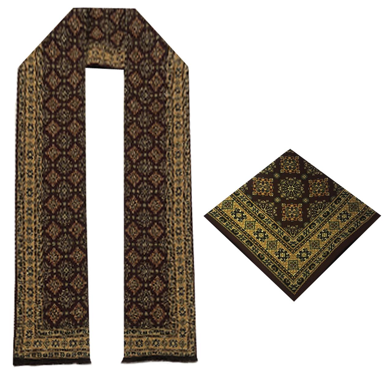 ست دستمال جیب و شال گردن مردانه آراد مدل st29