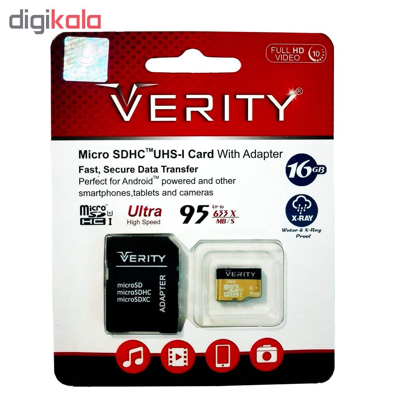 کارت حافظه microSDHC وریتی کلاس 10 استاندارد UHS-I U1 سرعت 95MBps ظرفیت 16 گیگابایت به همراه آداپت