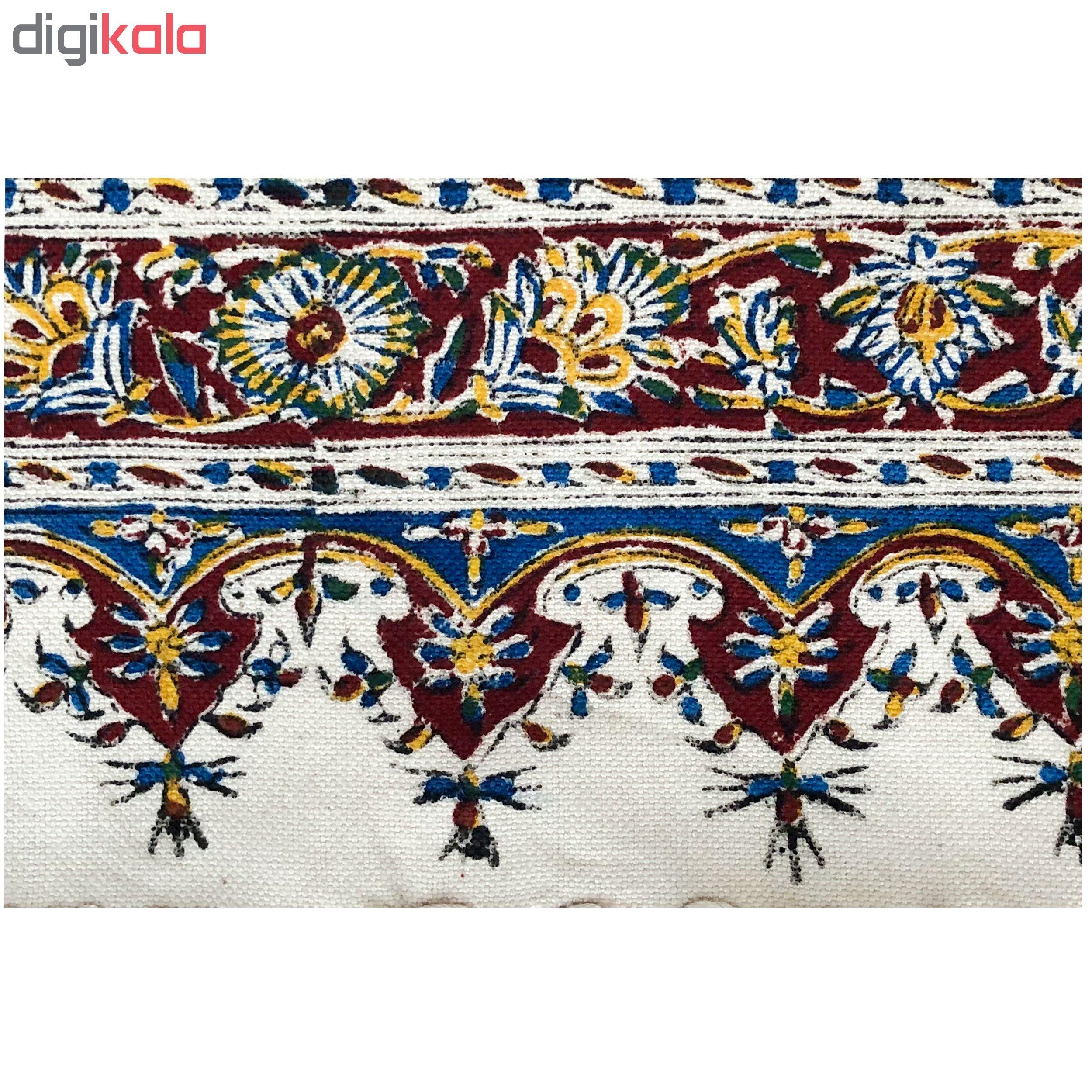خرید                      رومیزی قلمکار ممتاز اصفهان اثر عطريان  طرح حصیری مدل G177 سايز 150 * 100 سانتي متر