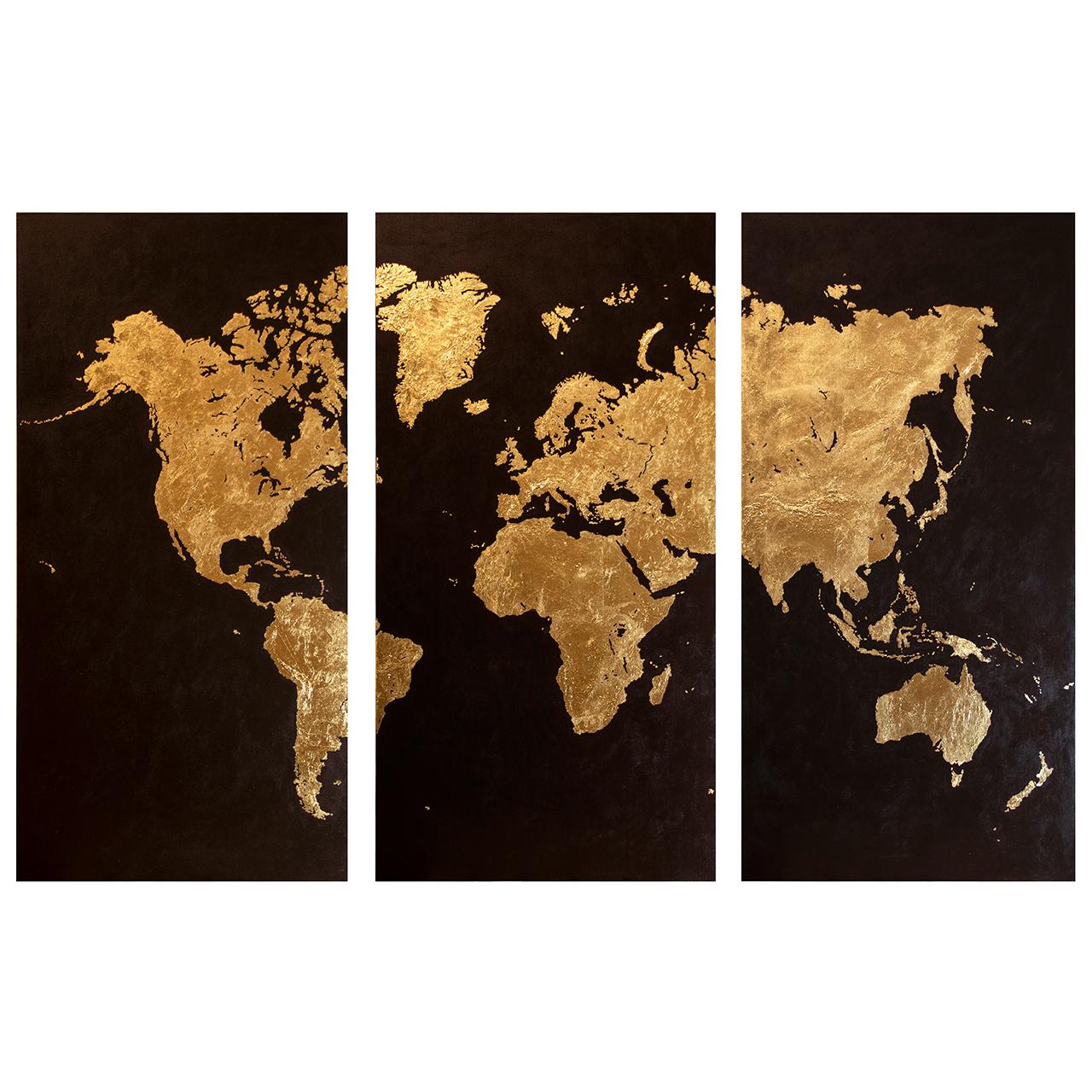 تابلو نقاشی اکرلیک و ورق طلا  طرح نقشه جهان کد Pr-L_001