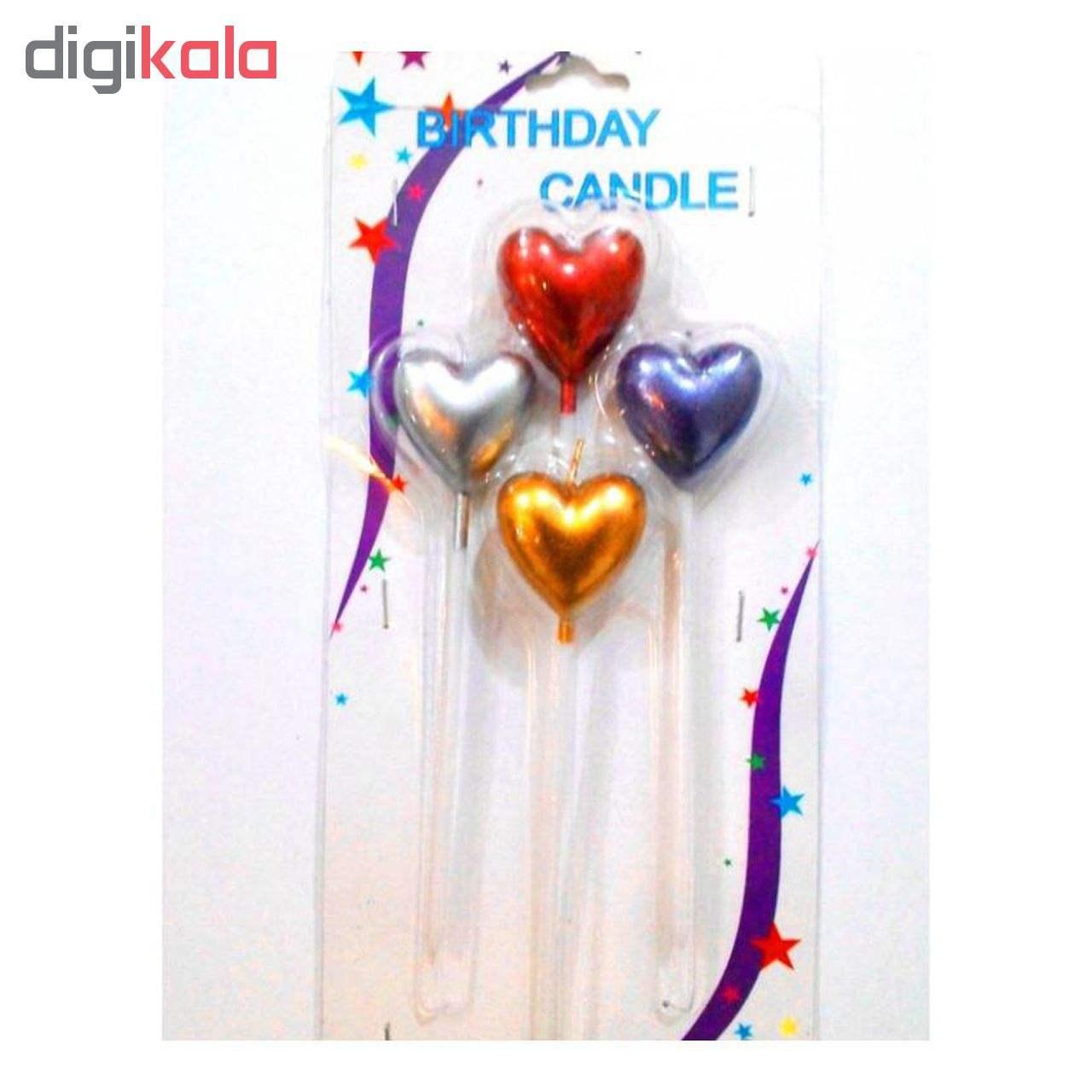 شمع تولد طرح قلب  کد 108 بسته 4 عددی main 1 1