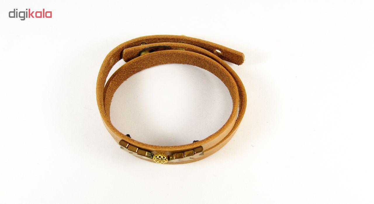 دستبند چرم و طلا 18عیار مانچو مدل bfg121