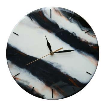 ساعت دیواری چوب و رزین کد Blac-k201
