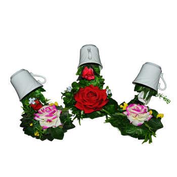 گلدان و گل مصنوعی طرح آبشار مجموعه 3 عددی
