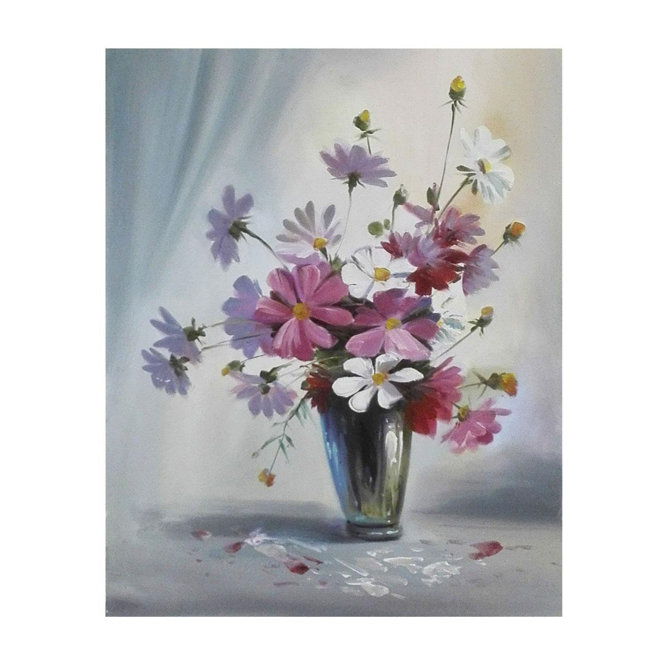 تابلو نقاشی رنگ روغن طرح گل مدل 3002