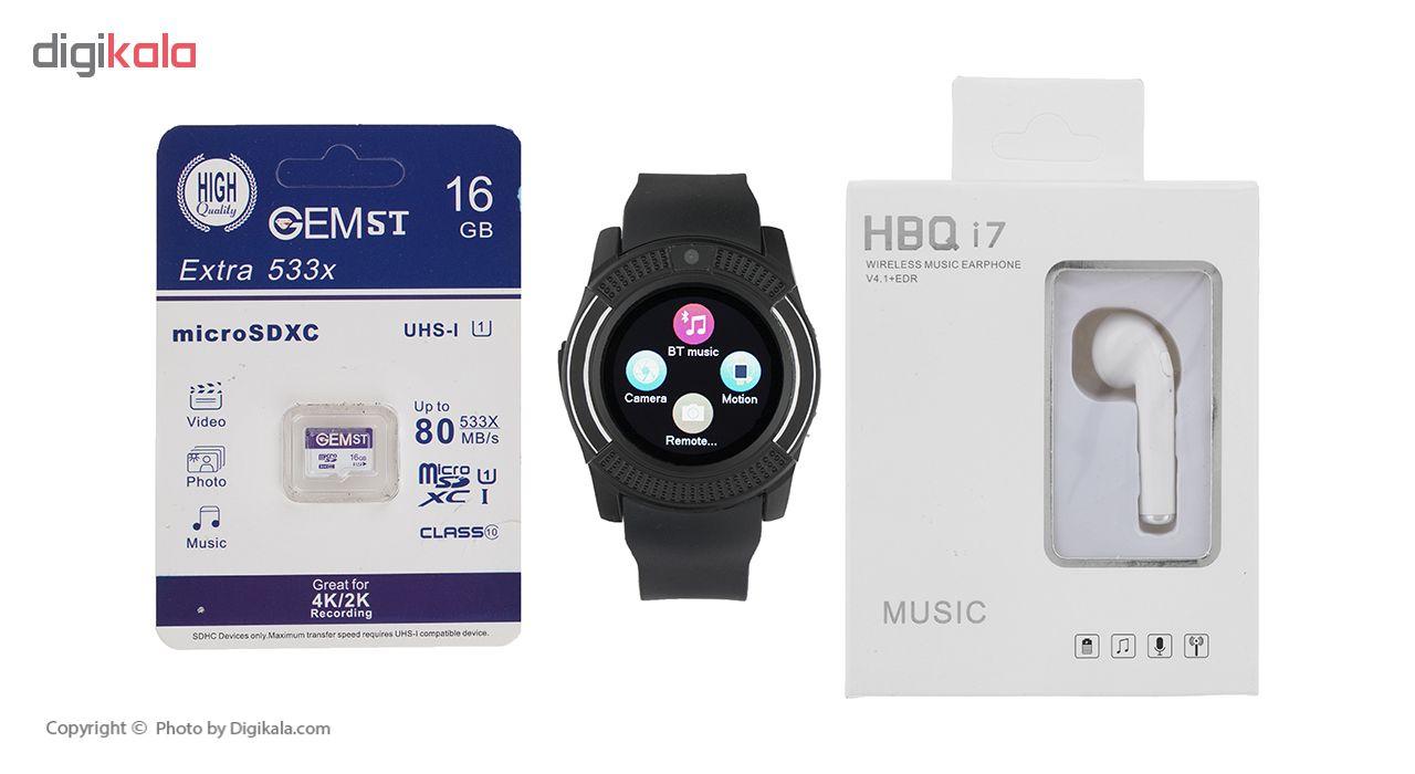 خرید ساعت هوشمند جی تب مدل W300  به همراه هندزفری اچ بی کیو مدل i7 و کارت حافظه 16 گیگابایتی
