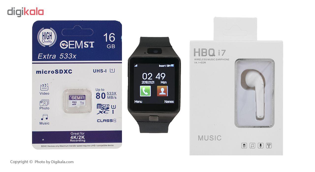 خرید ساعت هوشمند اسمارت بیسون مدل SB-01 به همراه هندزفری اچ بی کیو مدل i7 و کارت حافظه 16 گیگابایتی