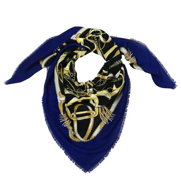 روسری زنانه طرح کمربندی کد z0022 رنگ آبی نفتی