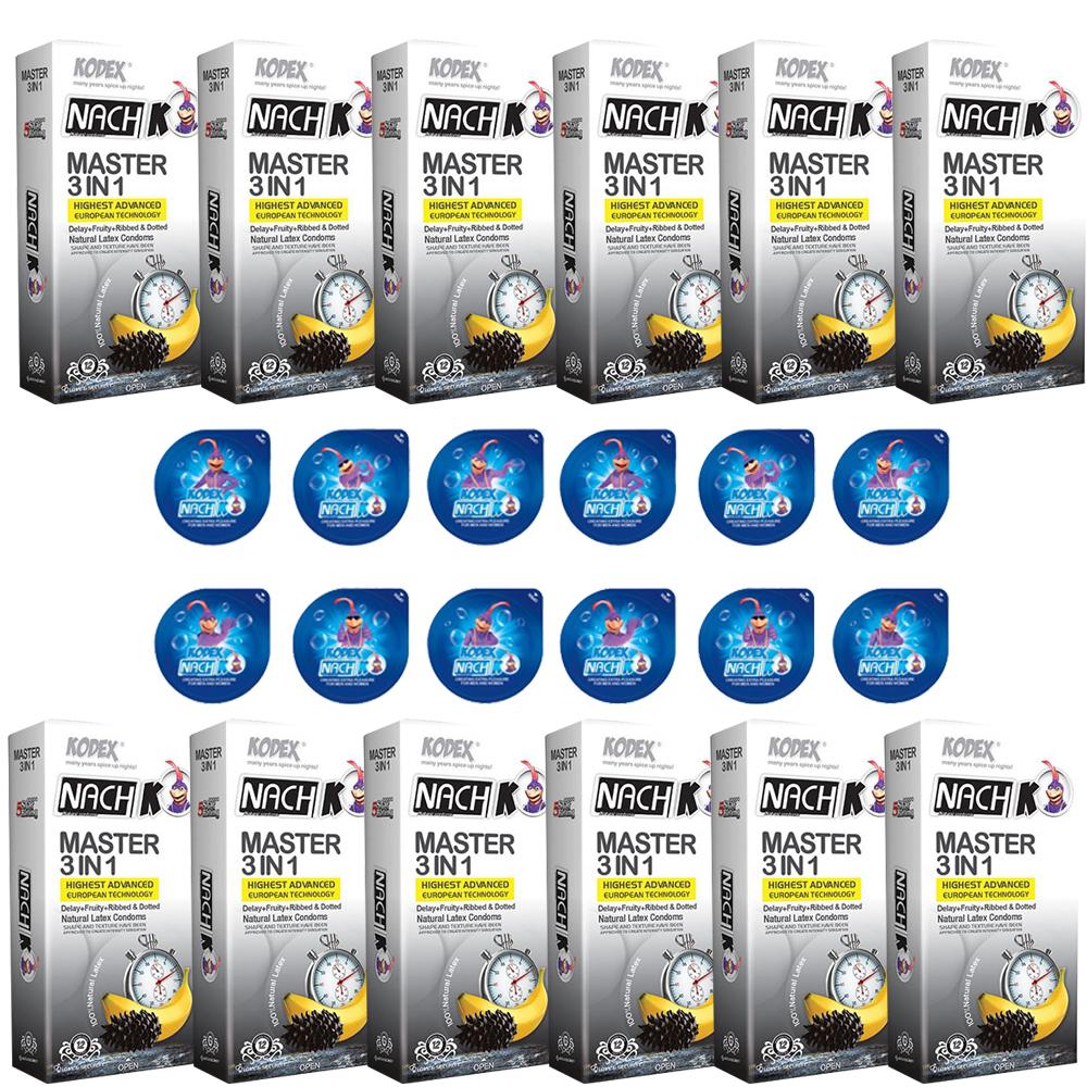 خرید                      کاندوم ناچ کدکس مدل MASTER 3IN1 مجموعه 12 عددی به همراه کاندوم ناچ کدکس مدل بلیسر بسته 12 عددی