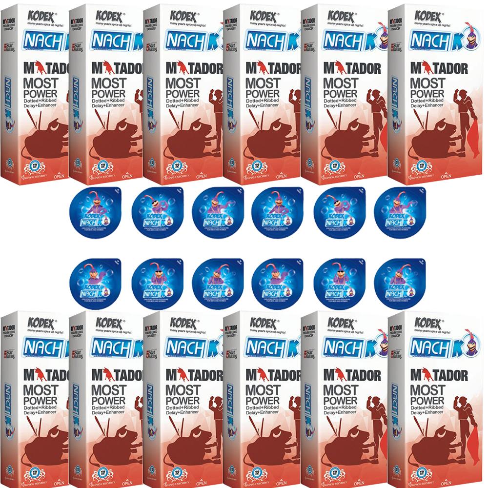 قیمت کاندوم ناچ کدکس مدل MATADOR مجموعه 12 عددی به همراه کاندوم ناچ کدکس مدل بلیسر بسته 12 عددی