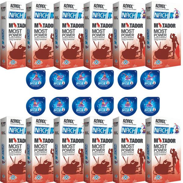 کاندوم ناچ کدکس مدل MATADOR مجموعه 12 عددی به همراه کاندوم ناچ کدکس مدل بلیسر بسته 12 عددی