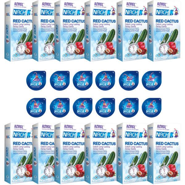 کاندوم ناچ کدکس مدل RED CACTUS مجموعه 12 عددی به همراه کاندوم ناچ کدکس مدل بلیسر بسته 12 عددی