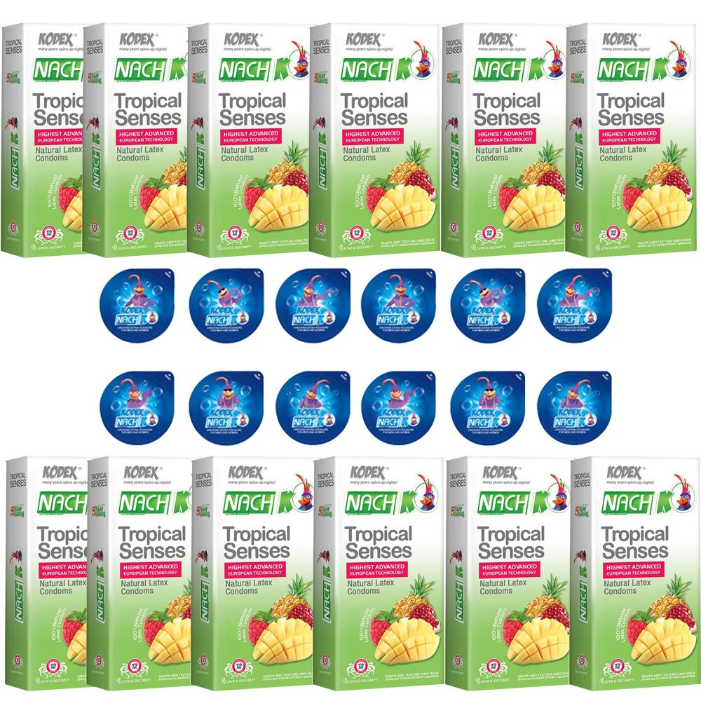 خرید                      کاندوم ناچ کدکس مدلTROPICAL SENSE مجموعه 12 عددی به همراه کاندوم ناچ کدکس مدل بلیسر بسته 12 عددی