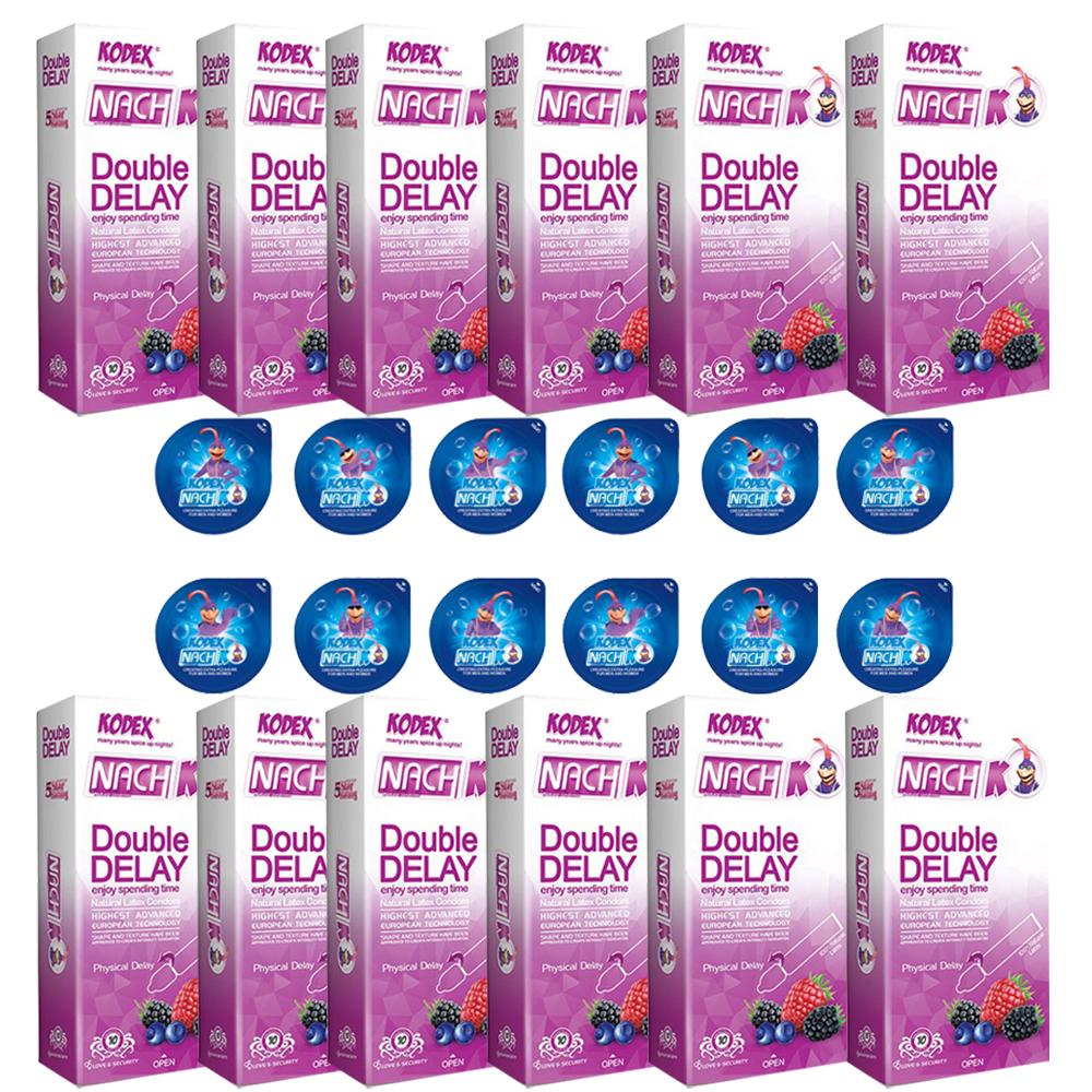 قیمت کاندوم ناچ کدکس مدل DOUBLE DELAY مجموعه 12 عددی به همراه کاندوم ناچ کدکس مدل بلیسر بسته 12 عددی