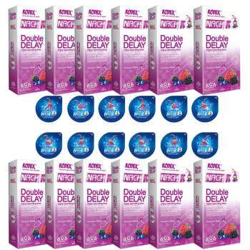 کاندوم ناچ کدکس مدل DOUBLE DELAY مجموعه 12 عددی به همراه کاندوم ناچ کدکس مدل بلیسر بسته 12 عددی