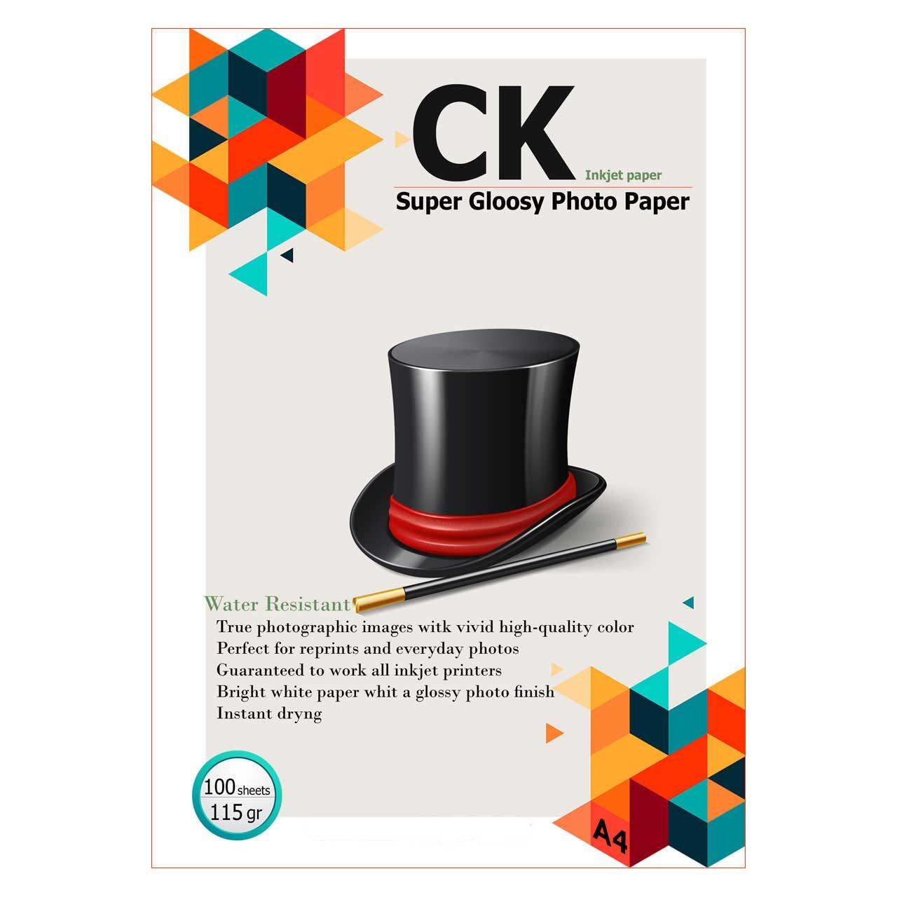 کاغذ گلاسه سی کی 115 گرم سایز A4 بسته 100 عددی - مخصوص پرینتر جوهر افشان