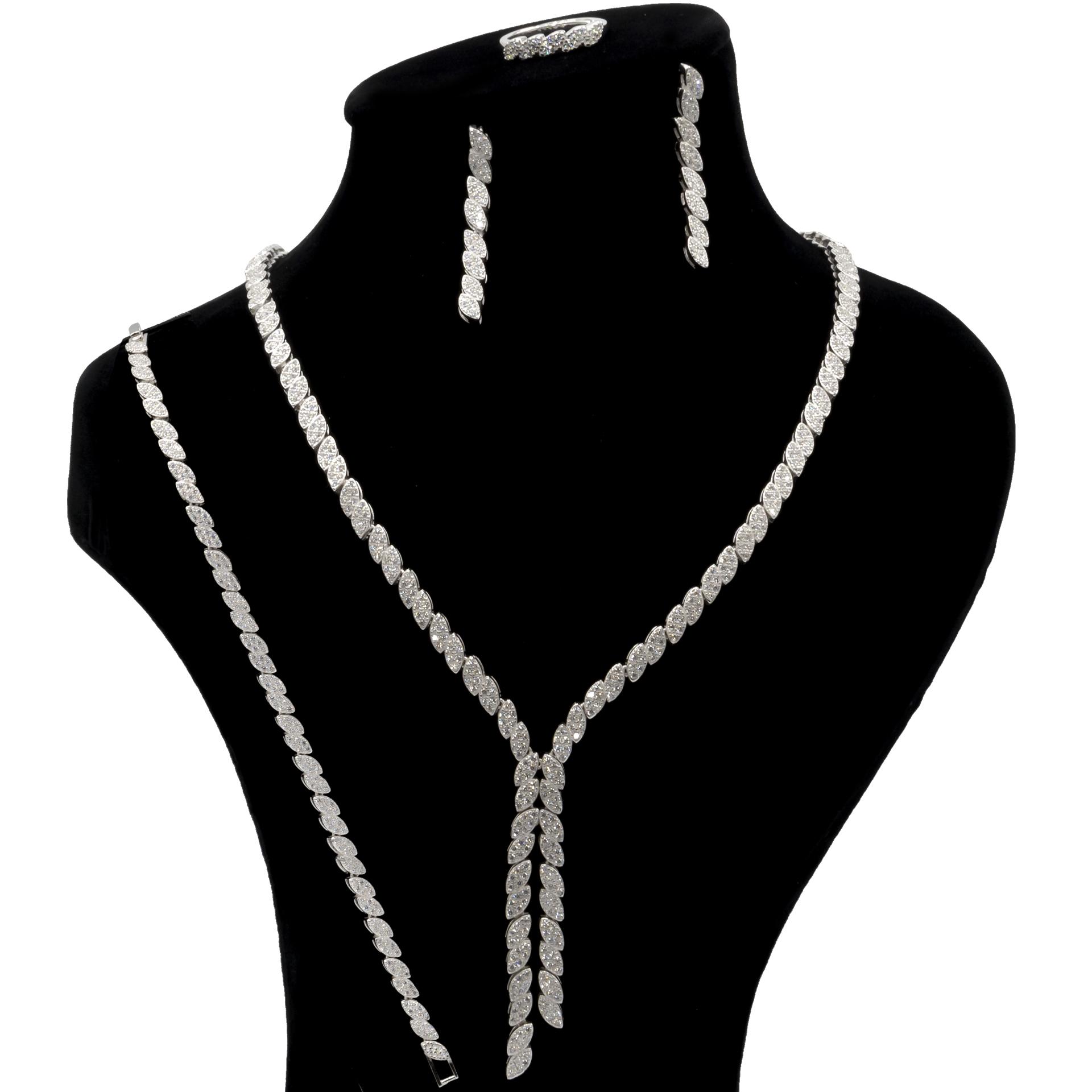 ست نقره زنانه بهارگالری مدل Luxury Jewel کد S3