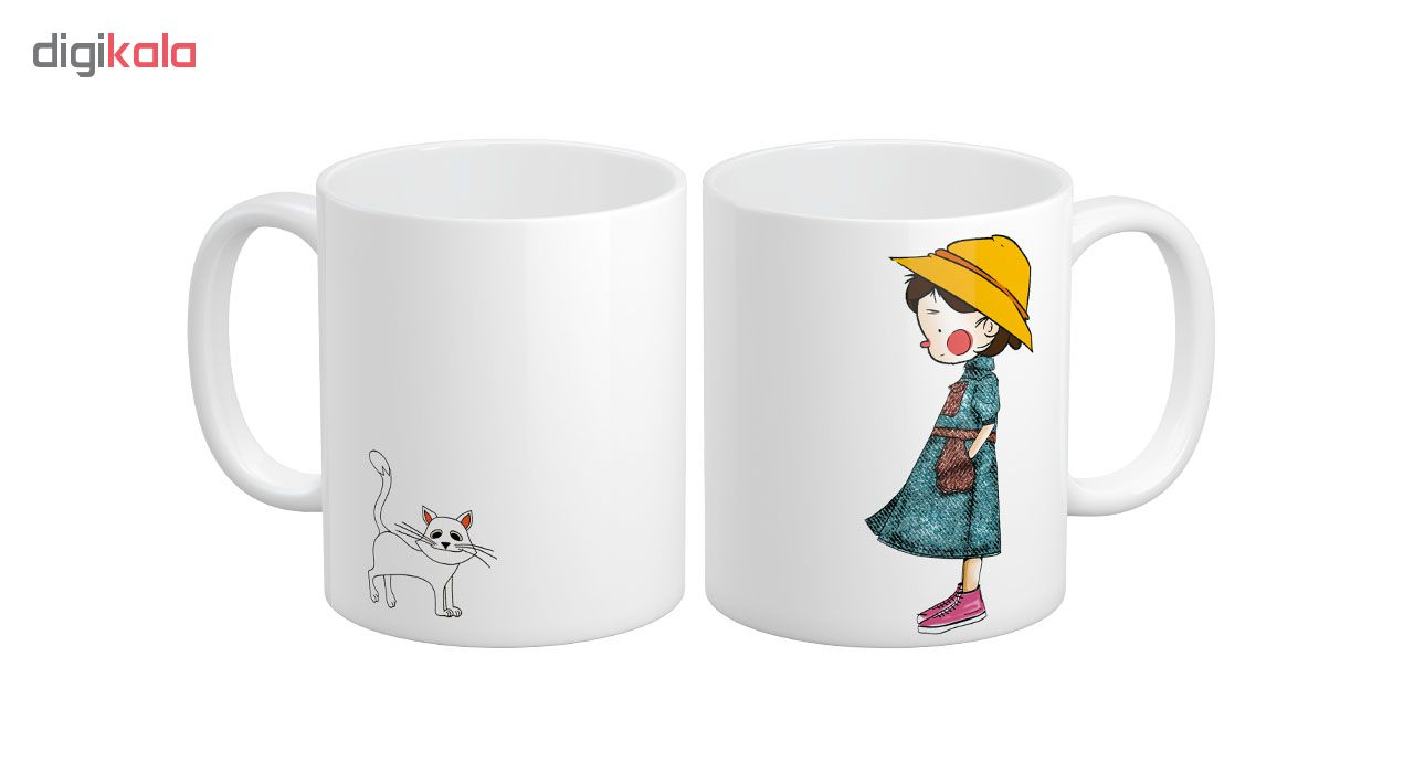 ماگ آبنبات رنگی طرح فانتزی دختر و گربه Cute کد AR0736
