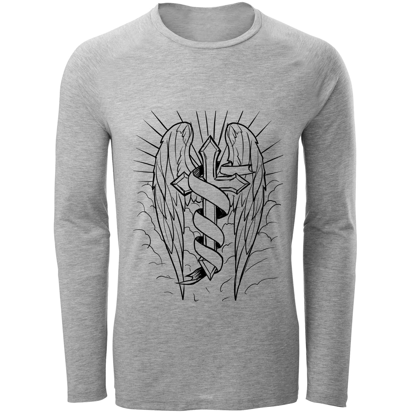تی شرت مردانه طرح صلیب و بال کد B148