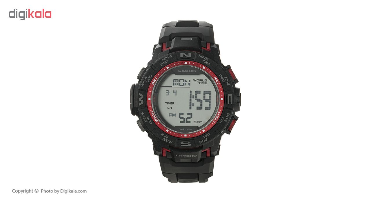 خرید ساعت مچی دیجیتال مردانه لاروس مدل M1173-0318  به همراه دستمال مخصوص نانو برند کلیر واچ