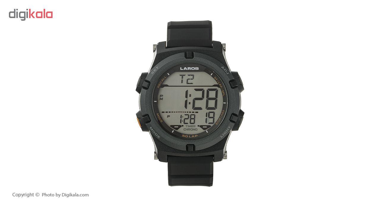 ساعت مچی دیجیتال مردانه لاروس مدل M1192-0318  به همراه دستمال مخصوص نانو برند کلیر واچ