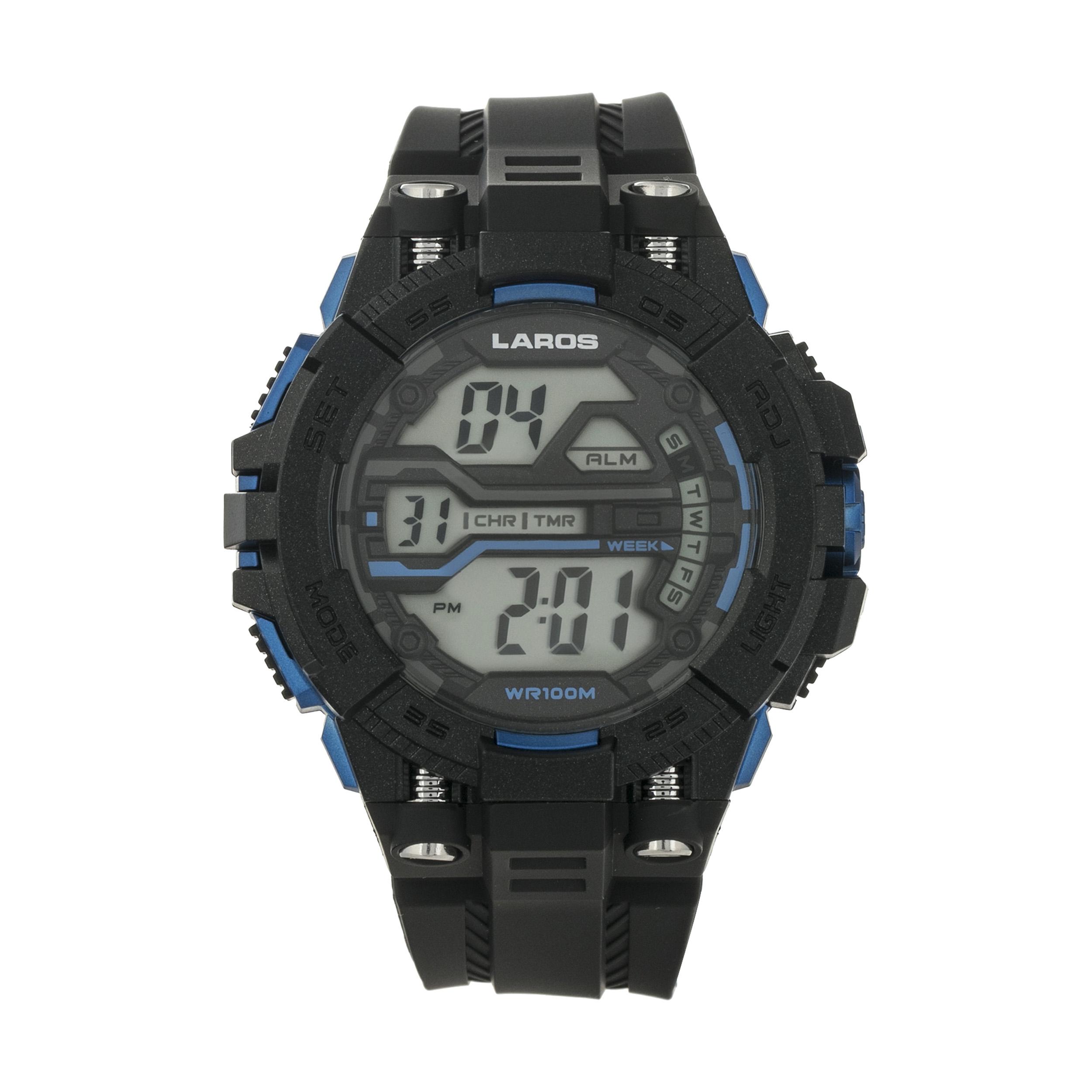 ساعت مچی دیجیتال مردانه لاروس مدل M1189-0318 به همراه دستمال مخصوص نانو برند کلیر واچ 24