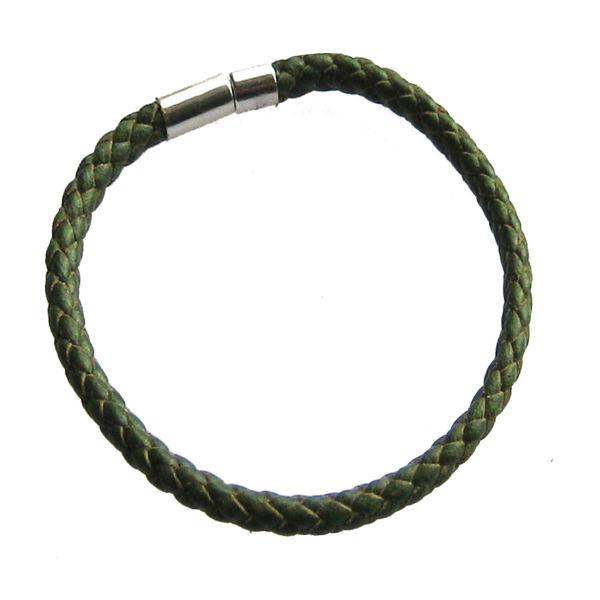 دستبند چرم طبیعی دانوب مدل سهره کد:003(سبز سدری)