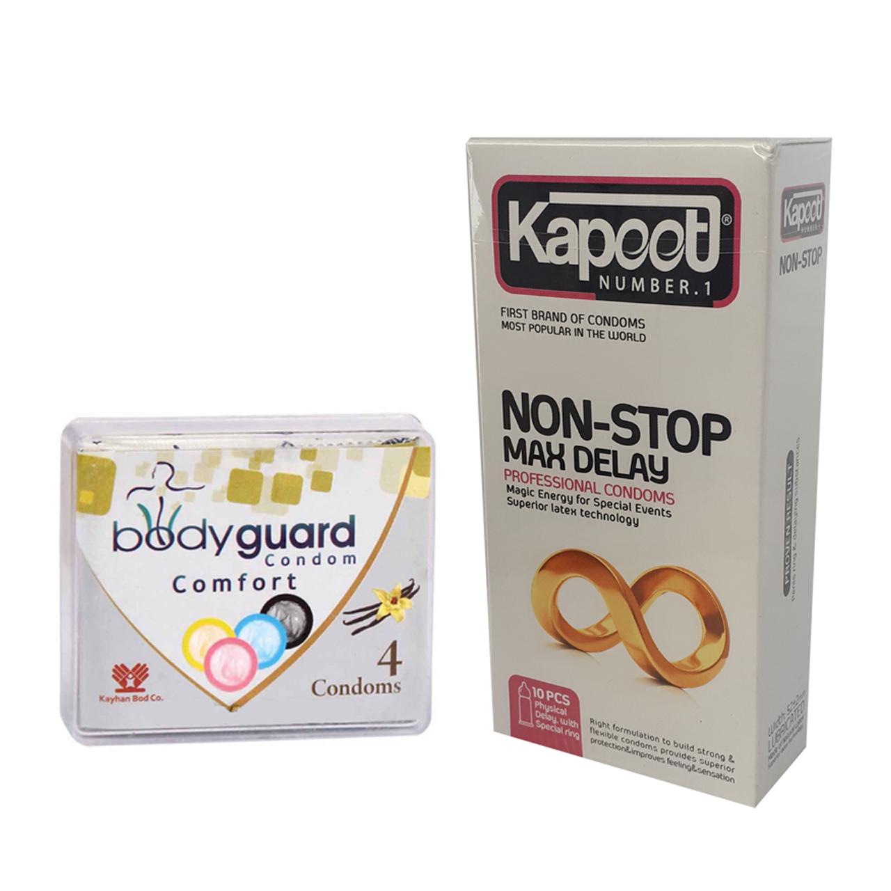 کاندوم کاپوت مدل Non Stop بسته 10 عددی به همراه کاندوم بادیگارد مدل Comfort بسته 4 عددی