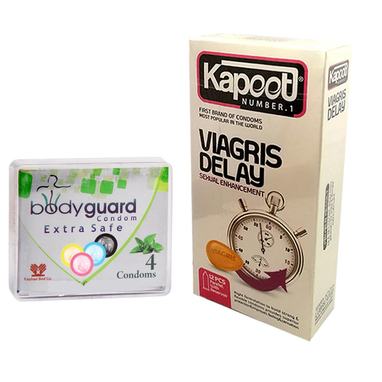 قیمت کاندوم کاپوت مدل Viagris Delay بسته 12 عددی به همراه کاندوم بادیگارد مدل Extra Safe بسته 4 عددی
