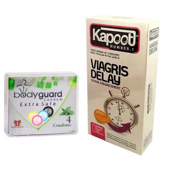 کاندوم کاپوت مدل Viagris Delay بسته 12 عددی به همراه کاندوم بادیگارد مدل Extra Safe بسته 4 عددی