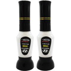 قلم خشگیر بدنه خودرو اسمارت پن رنگ سفید صدفی سوناتا هیوندای کد WHC حجم 15 میلی لیتر به همراه رنگ صدف مجموعه 2 عددی