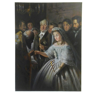 تابلو نقاشی رنگ روغن طرح عروسی اجباری مدل 3014